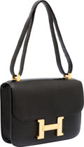 Luxury Accessories:Bags, Hermes 23cm Black Lizard Single Gusset Constance Shoulder Bag withGold Hardware. ...