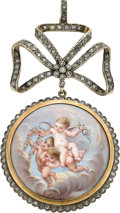 Estate Jewelry:Pendants and Lockets, Antique Diamond, Enamel, Silver-Topped Gold Pendant. ...