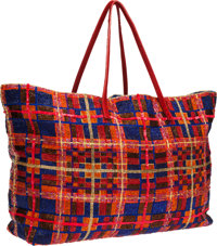 Fendi Red & Blue Beaded and Sequined Tote Bag