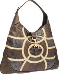 Luxury Accessories:Bags, Gucci Pewter Alligator, Lizard & Snakeskin Jackie Shoulder Bag....