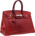 Luxury Accessories:Bags, Hermes 35cm Matte Rouge H Porosus Crocodile Birkin Bag withPalladium Hardware. ...