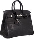 Luxury Accessories:Bags, Hermes 25cm Matte Black Nilo Crocodile Birkin Bag with Palladium Hardware. ...