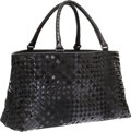 Luxury Accessories:Bags, Bottega Veneta Black Patent Leather & Suede Intrecciato ToteBag. ...