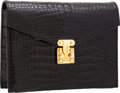 Luxury Accessories:Bags, Lana Marks Black Crocodile Box Clutch Bag with Shoulder Strap . ...