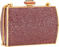 Luxury Accessories:Bags, Judith Leiber Full Bead Bronze Crystal Rectangular Mini MinaudiereEvening Bag. ...