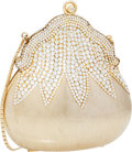 Luxury Accessories:Bags, Judith Leiber Half Bead Gold & Silver Crystal ChatelaineMinaudiere Evening Bag . ...