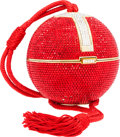 Luxury Accessories:Bags, Judith Leiber Full Bead Red & Silver Crystal Minaudiere EveningBag. ...