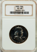 Proof Franklin Half Dollars: , 1955 50C PR68 NGC. NGC Census: (1656/207). PCGS Population (209/3).Mintage: 378,200. Numismedia Wsl. Price for problem fre...