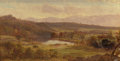 Fine Art - Painting, American:Antique  (Pre 1900), THOMAS HIRAM HOTCHKISS (American, 1834-1869). Haying in theCatskills, 1858. Oil on canvas. 6 x 11-1/4 inches (15.2 x 28...