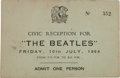 Music Memorabilia:Autographs and Signed Items, Beatles Liverpool Town Hall Civic Reception Ticket, July 10,1964....