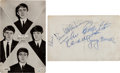 Music Memorabilia:Autographs and Signed Items, Beatles Signatures on a Postcard with Letter from the Original Recipient (1963)....