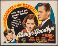 "Always Goodbye (20th Century Fox, 1938). Half Sheet (22"" X 28"") Style B. Drama"