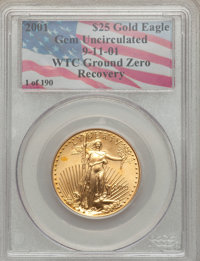 2001 G$25 Half-Ounce Gold Eagle Gem Uncirculated PCGS. 9-11-01 WTC Ground Zero Recovery. From The Northern Lights Collec...