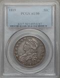Bust Half Dollars: , 1819 50C AU50 PCGS. PCGS Population (59/197). NGC Census: (27/222).Mintage: 2,208,000. Numismedia Wsl. Price for problem f...