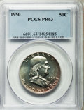 Proof Franklin Half Dollars: , 1950 50C PR63 PCGS. PCGS Population (330/2901). NGC Census:(171/2084). Mintage: 51,386. Numismedia Wsl. Price for problem ...
