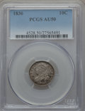 Bust Dimes: , 1836 10C AU50 PCGS. PCGS Population (19/159). NGC Census: (4/181).Mintage: 1,190,000. Numismedia Wsl. Price for problem fr...