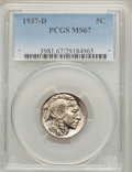Buffalo Nickels: , 1937-D 5C MS67 PCGS. PCGS Population (88/1). NGC Census: (87/2).Mintage: 17,826,000. Numismedia Wsl. Price for problem fre...