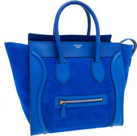 Celine Azure Blue Suede Luggage Tote Bag