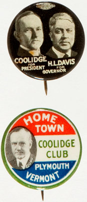"""Calvin Coolidge: Pair of 7/8"""" Buttons"""