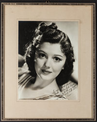 """Ann Rutherford (1940s). Autographed Portrait Photo (9.5"""" X 12.5"""") in Frame (14.5"""" X 18.5""""). Miscella..."""
