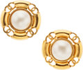 Luxury Accessories:Accessories, Chanel Gold CC & Glass Pearl Clip-On Earrings. ...
