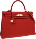 Luxury Accessories:Bags, Hermes 35cm Vermillion Clemence Leather Retourne Kelly Bag withGold Hardware. ...
