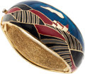 Luxury Accessories:Accessories, Balenciaga Gold Bracelet with Blue, Black & Red Enamel. ...