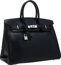 Luxury Accessories:Bags, Hermes 35cm Black Calf Box Leather Birkin Bag with BrushedPalladium Hardware. ...