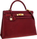 Luxury Accessories:Bags, Hermes 32cm Rouge H Veau Graine Lisse Sellier Kelly Bag with GoldHardware. ...