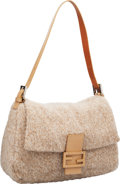 Luxury Accessories:Bags, Fendi Tan Woven Cashmere & Leather Mama Baguette Shoulder Bag....