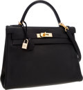 Luxury Accessories:Bags, Hermes 32cm Black Evergrain Leather Retourne Kelly Bag with Gold Hardware. ...