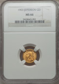 Commemorative Gold: , 1903 G$1 Louisiana Purchase/Jefferson MS66 NGC. NGC Census:(393/89). PCGS Population (530/84). Mintage: 17,500. Numismedia...