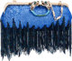 Gucci by Tom Ford Limited Edition Blue & Black Sequin Enamel and Glass Pearl Dragon Closure Clutch Bag with Bamb...