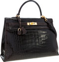 Luxury Accessories:Bags, Hermes 35cm Shiny Marron Fonce Alligator Sellier Kelly Bag withGold Hardware. ...