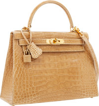 Hermes 28cm Shiny Poudre Alligator Sellier Kelly Bag with Gold Hardware