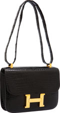 Luxury Accessories:Bags, Hermes 23cm Shiny Black Porosus Crocodile Single Gusset ConstanceBag with Gold Hardware. ...