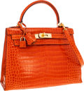 Luxury Accessories:Bags, Hermes 28cm Shiny Orange H Porosus Crocodile Sellier Kelly Bag with Gold Hardware. ...