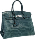 Luxury Accessories:Bags, Hermes 35cm Shiny Blue Jean Porosus Crocodile Birkin Bag withPalladium Hardware. ...