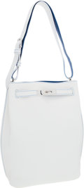 Luxury Accessories:Bags, Hermes 26cm White & Mykonos Clemence Leather So Kelly ShoulderBag with Palladium Hardware . ...