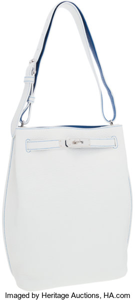 0f74caef180f Hermes 26cm White   Mykonos Clemence Leather So Kelly