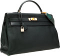 Luxury Accessories:Bags, Hermes 40cm Vert Fonce Togo Leather Retourne Kelly Bag with CanvasStrap & Gold Hardware. ...