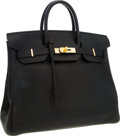 Luxury Accessories:Bags, Hermes 32cm Black Togo Leather HAC Birkin Bag with Gold Hardware....