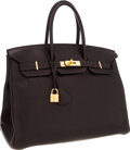 Luxury Accessories:Bags, Hermes 35cm Chocolate Clemence Leather Birkin Bag with GoldHardware. ...
