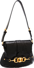 Luxury Accessories:Bags, Gucci Black Patent Leather Horsebit Buckle Shoulder Bag. ...