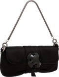 Luxury Accessories:Bags, Lanvin Black Satin Clutch Bag with Chain Strap . ...