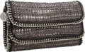 Luxury Accessories:Bags, Stella McCartney Pewter Metallic Woven Boucle Falabella DoubleFoldover Clutch Bag . ...