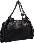 Luxury Accessories:Bags, Stella McCartney Black Patent Vegan Leather Fallabella Hobo Bagwith Chain Detail & Straps. ...