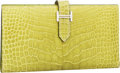 Luxury Accessories:Accessories, Hermes Shiny Vert Chartreuse Alligator Bearn Bi-Fold Wallet with Palladium Hardware. ...
