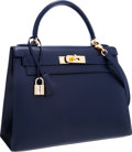 Luxury Accessories:Bags, Hermes 28cm Indigo Calf Box Leather Sellier Kelly Bag with GoldHardware. ...