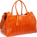 Luxury Accessories:Travel/Trunks, Suarez Shiny Orange Alligator Travel Bag with Shoulder Strap. ...